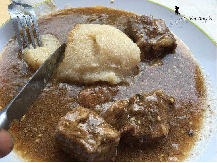 Funji with beef sauce.