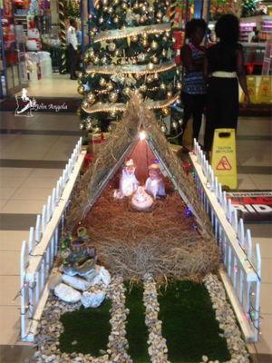 The nativity scene at the entrance of Shoprite, Benguela.