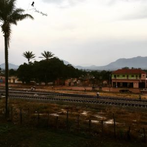 A rainy view of Ganda, another city in the Province of Benguela. A train passes on those railways once or twice a day.