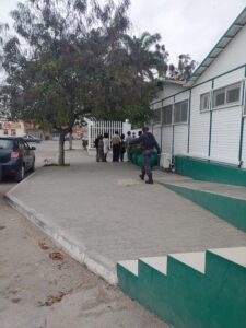 people outside a clinic