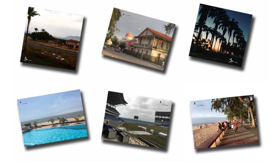 Seis fotos distribuídas em duas linhas, todas representando cidades angolanas.